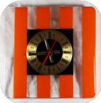 20cm square orange and white-clear streaky clock